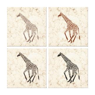 Cream Faux Marble Giraffes Canvas Print