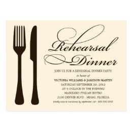 CREAM FLATWARE   REHEARSAL DINNER INVITE POSTCARD