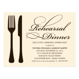 CREAM FLATWARE | REHEARSAL DINNER INVITE POSTCARD