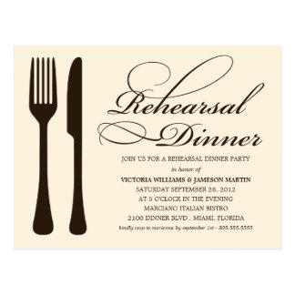 CREAM FLATWARE | REHEARSAL DINNER INVITE POSTCARD