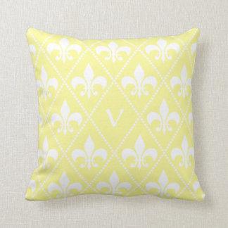 Cream Fleur de Lis with monogram initial Throw Pillow
