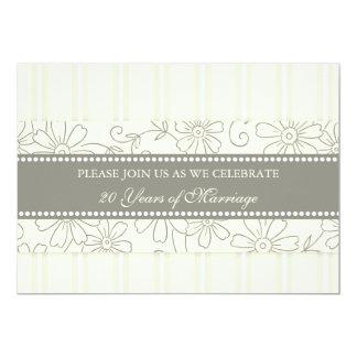 Cream Floral 20th Anniversary Party Invitation