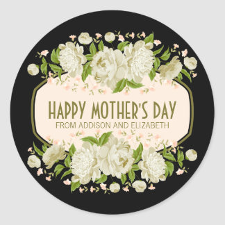 Cream Floral Happy Mother's Day Sticker