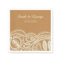 cream floral lace personalized wedding napkins
