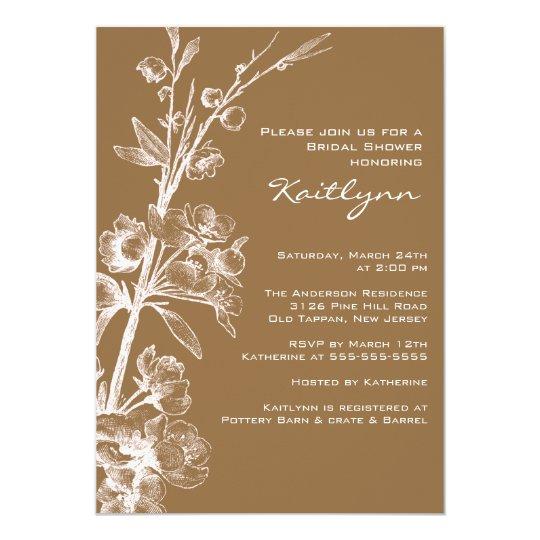 Cream Floral on Brown Bridal Shower Invitation