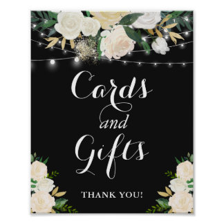 Cream Floral String Lights Cards and Gifts Sign