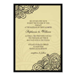 Cream Floral Swirl Wedding Invitation