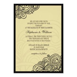 Cream Floral Swirl Wedding Invitation