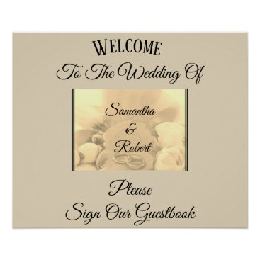 Wedding Themed Cream & Floral with Rings & Greeting - Poster