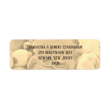 Bride Themed Cream Floral with Rings Return Address Labels