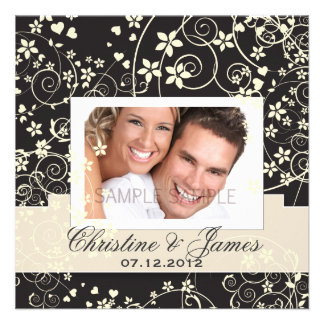 Cream florals on black with your photo custom invitations