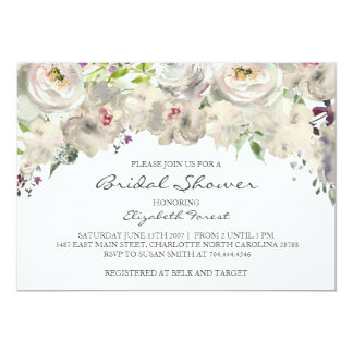 Cream flower bridal shower invitation