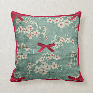Cream Flowers & Red Bows & Green  American MoJo Pi Pillow