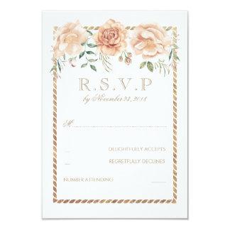 Cream Flowers Watercolor Frame Wedding RSVP Card