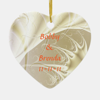 Cream Fractal Heart Ceramic Ornament