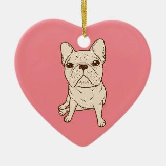 Cream French Bulldog Ceramic Ornament
