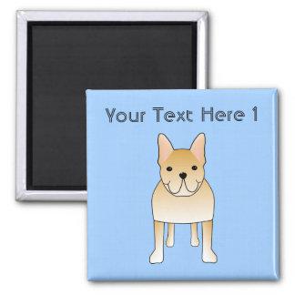 Cream French Bulldog. Dog Cartoon 2 Inch Square Magnet