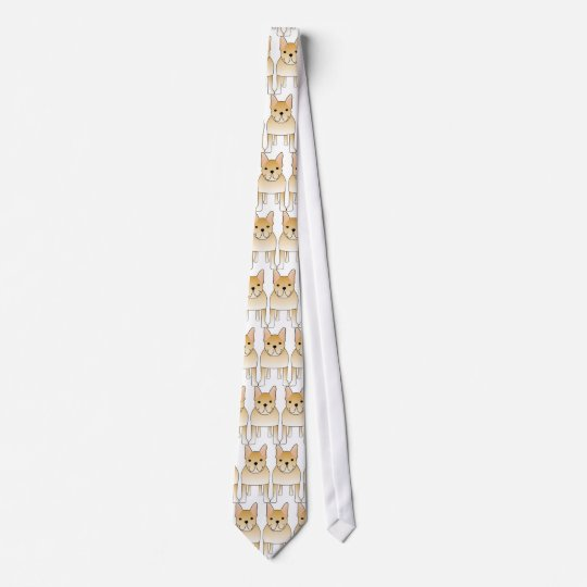Cream French Bulldog. Dog Cartoon Tie