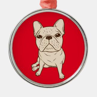 Cream French Bulldog Metal Ornament