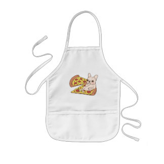 Cream Frenchie invites you to her pizza party Kids' Apron