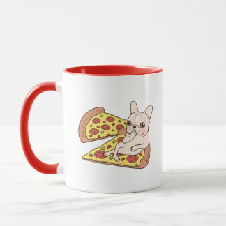Cream Frenchie invites you to her pizza party Mug