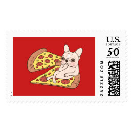 Cream Frenchie invites you to her pizza party Postage