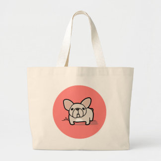 Cream Frenchie Large Tote Bag