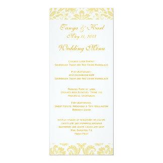 Cream Gold Floral Damask Wedding Menu 4x9.25 Paper Invitation Card