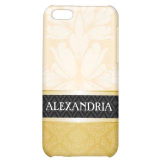 Cream & Gold Personalized Damask iPhone 4 Case