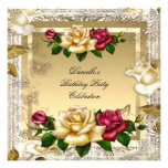 Cream Gold Pink Red Roses Elegant Birthday Party Personalized Announcement