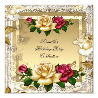 Cream Gold Pink Red Roses Elegant Birthday Party Invitation