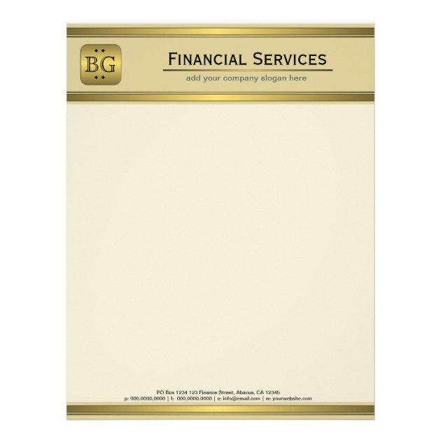 Cream Gold Plate Accounting Business Letterhead | Zazzle.com