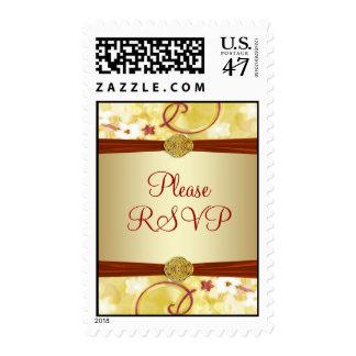 Cream Gold & Red Floral RSVP Postage