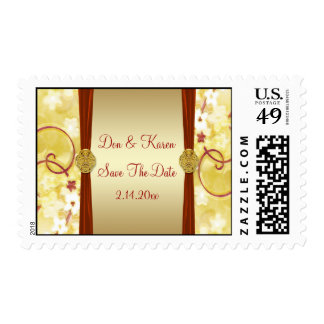 Cream Gold & Red Floral Save Date Postage
