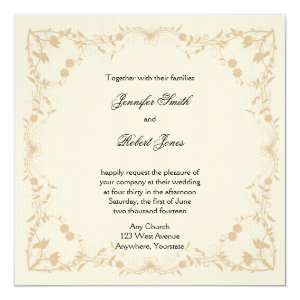 Cream Gold Vintage Pinstripe Floral Wedding 5.25x5.25 Square Paper Invitation Card