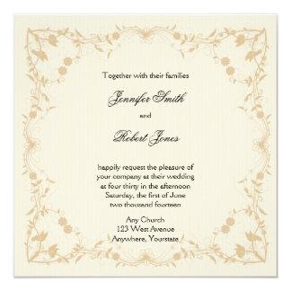 Cream Gold Vintage Pinstripe Floral Wedding Invitation