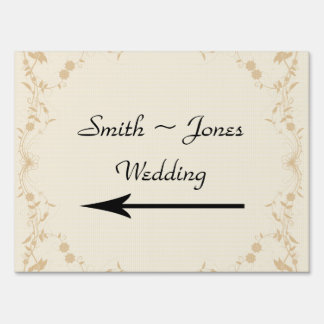 Cream Gold Vintage Stripe Wedding Direction Sign