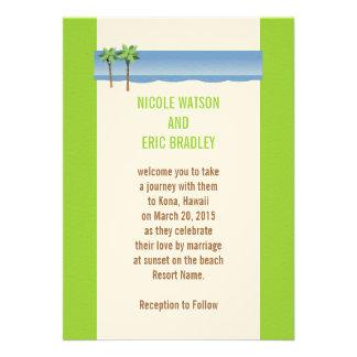 Cream Green Palm Trees Beach Wedding Invitation