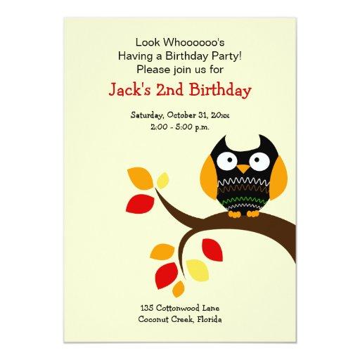 Cream Halloween Owl Autumn Birthday Invite 5x7