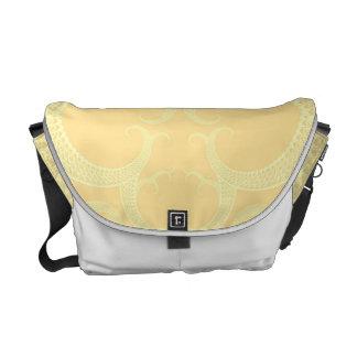 Cream Heart Fractal Pattern Messenger Bag