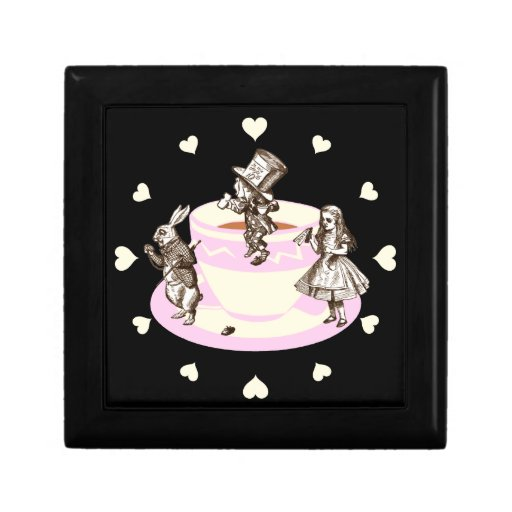 Cream Hearts Around a Mad Tea Party Trinket Box