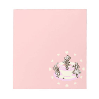 Cream Hearts Around a Mad Tea Party Notepad