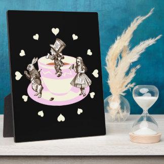 Cream Hearts Around a Mad Tea Party Plaque