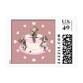 Cream Hearts Around a Mad Tea Party Postage