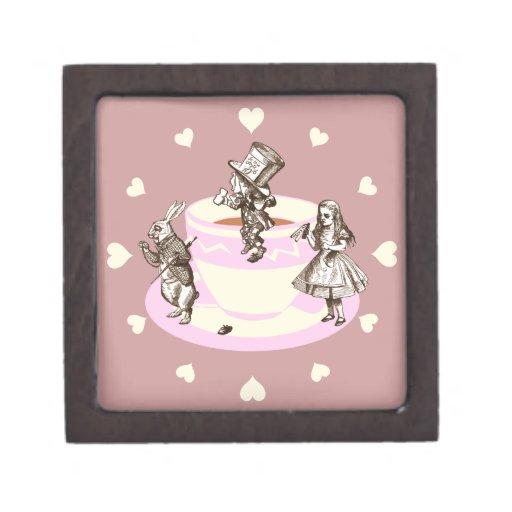 Cream Hearts Around a Mad Tea Party Premium Jewelry Box