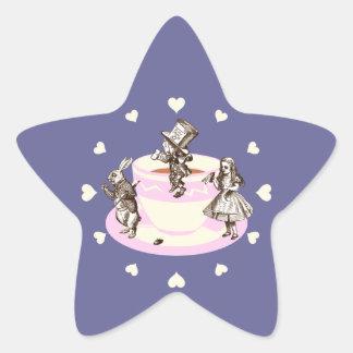 Cream Hearts Around a Mad Tea Party Star Sticker