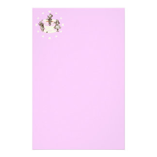 Cream Hearts Around a Mad Tea Party Stationery