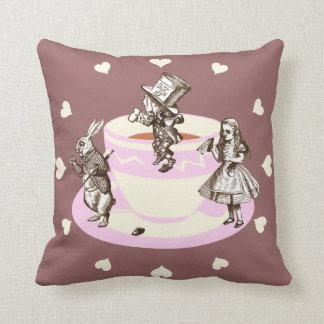 Cream Hearts Around a Mad Tea Party Throw Pillow