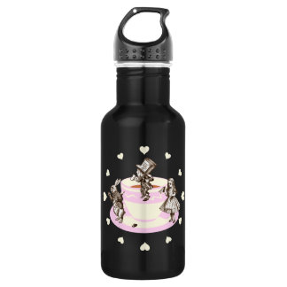 Cream Hearts Around a Mad Tea Party Water Bottle