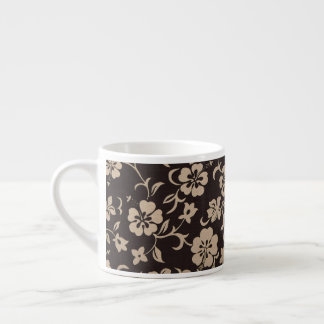 Cream Hibiscus Flowers on Brown 1 Espresso Cup